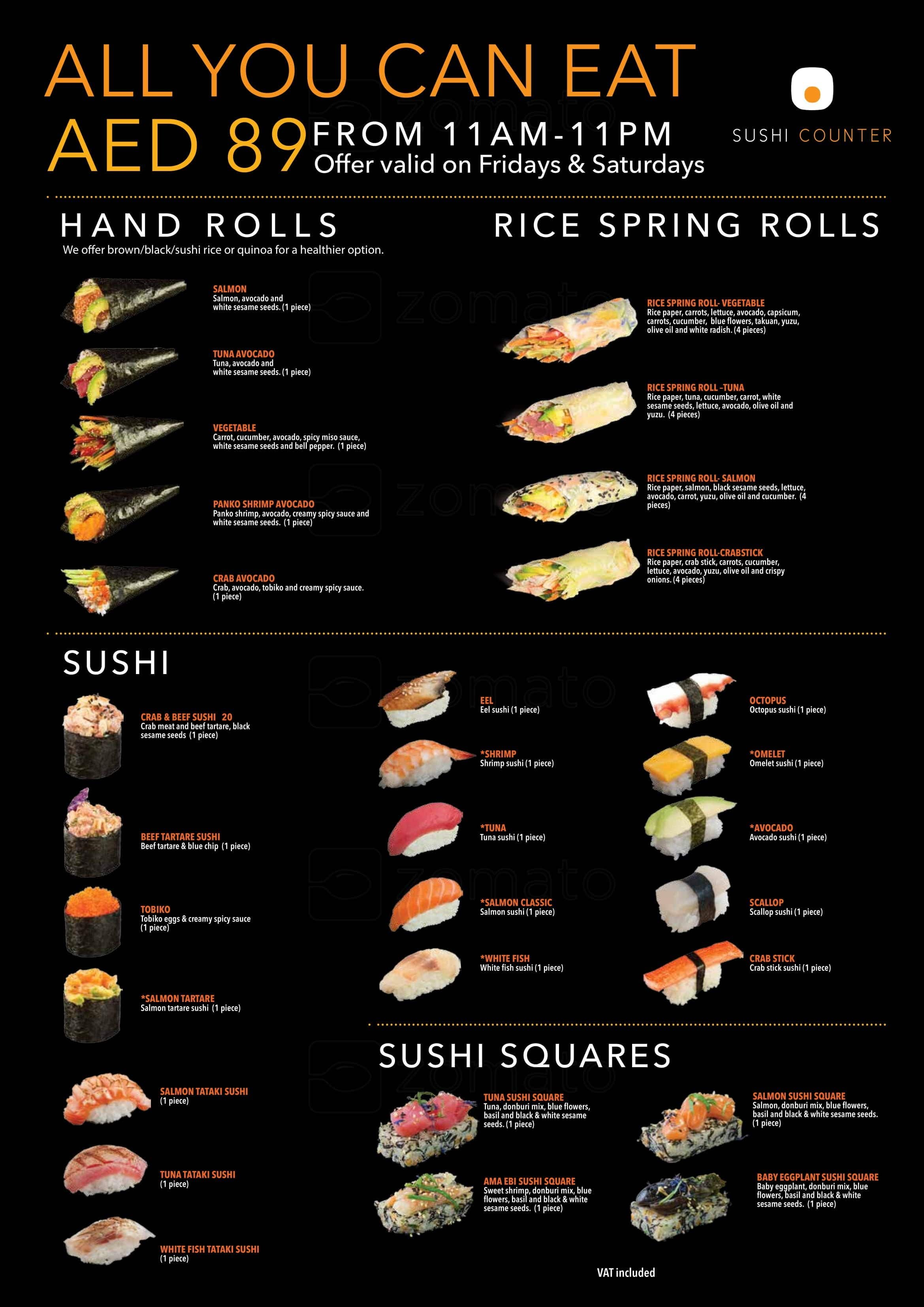 Sushi Counter, Motor City Menu