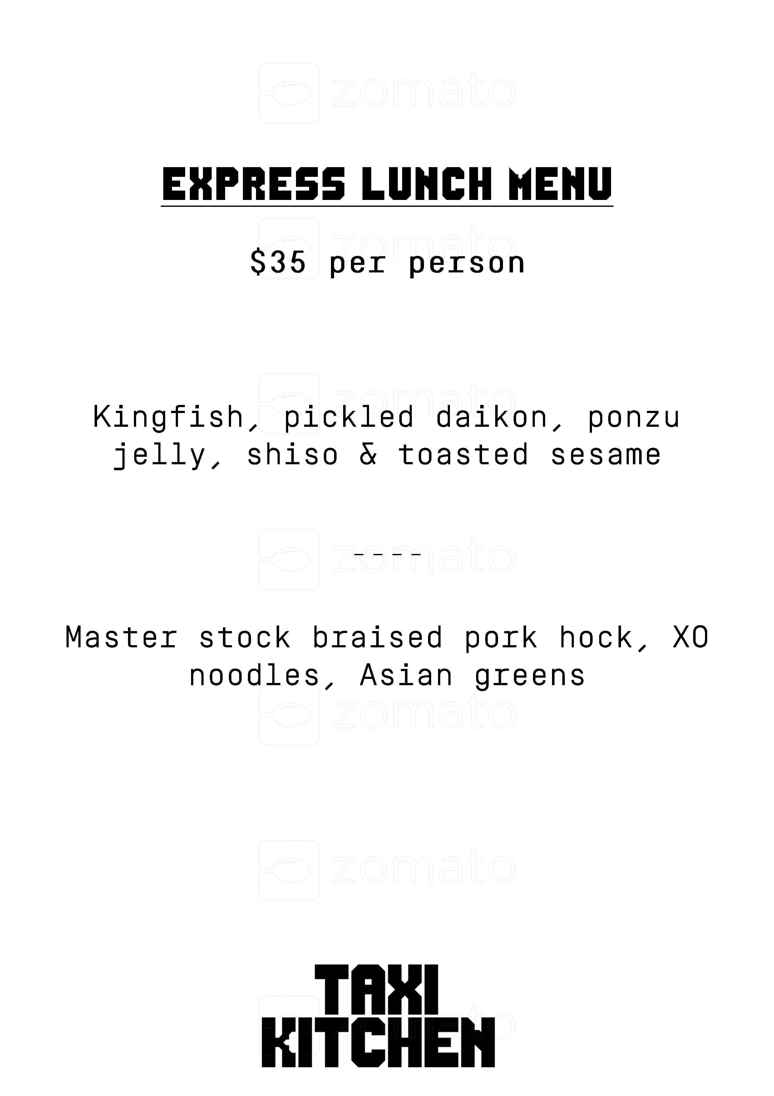 Taxi Kitchen Menu, Menu for Taxi Kitchen, Flinders Street, CBD ...