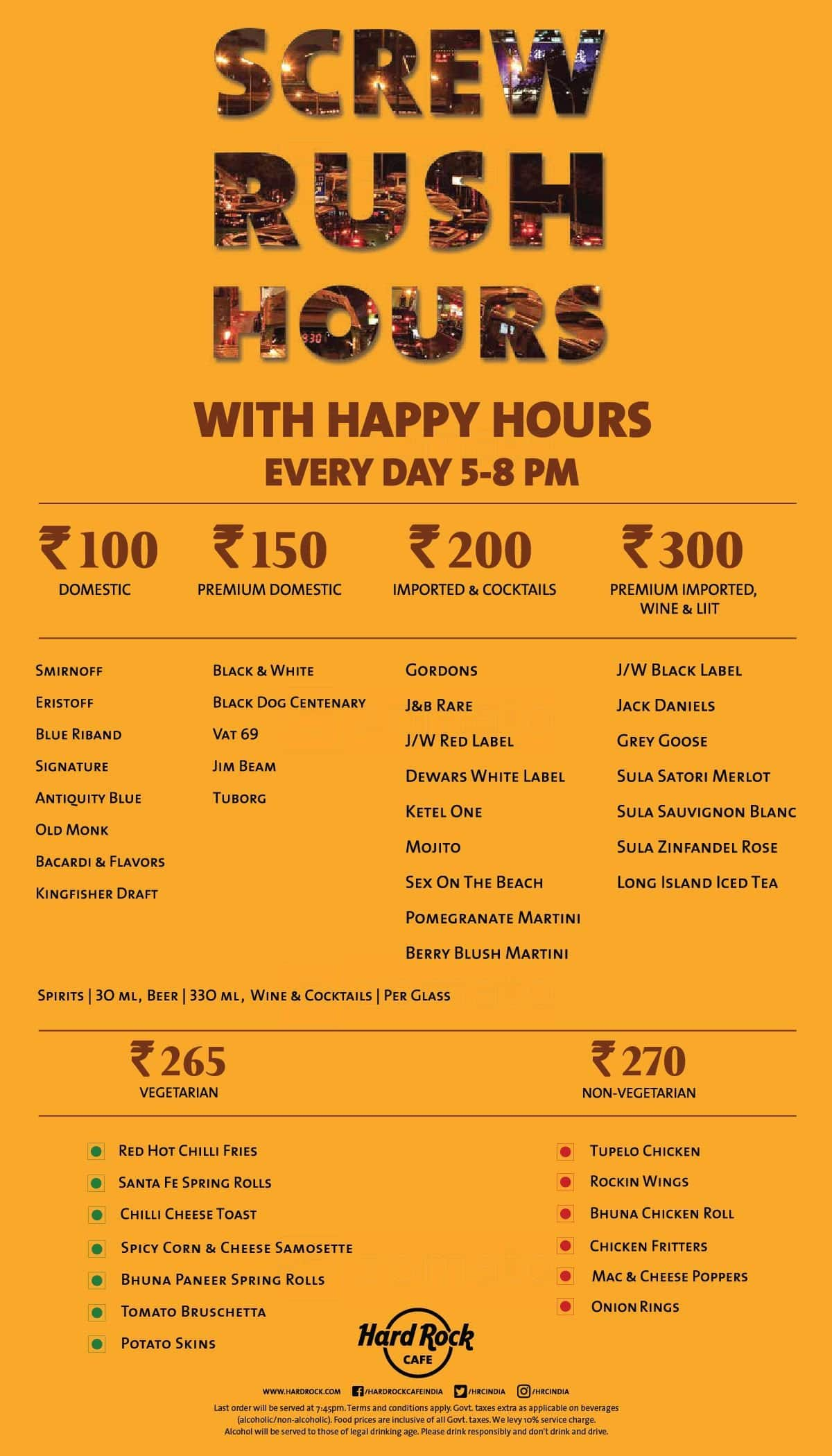 Hard Rock Cafe Worli Bar Menu