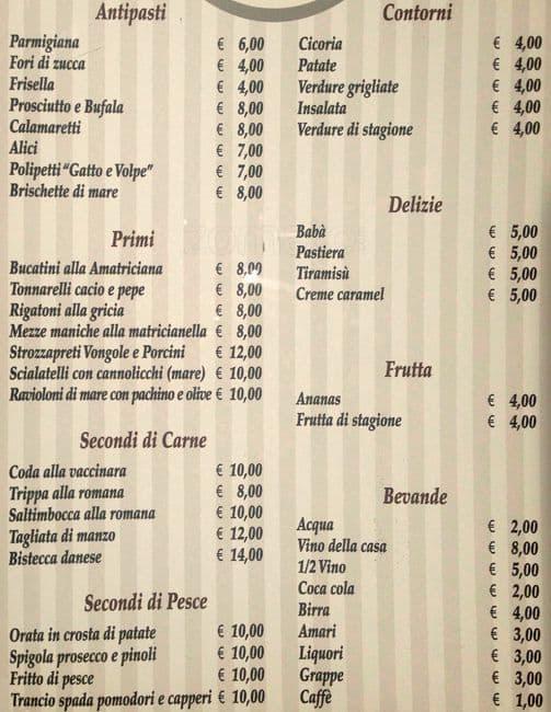 Taverna Del Gatto E La Volpe Menu Zomato Italy