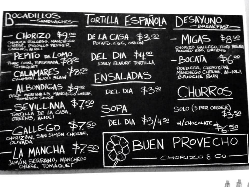 Chorizo and co menu menu for chorizo and co victoria for Fish and hooks menu
