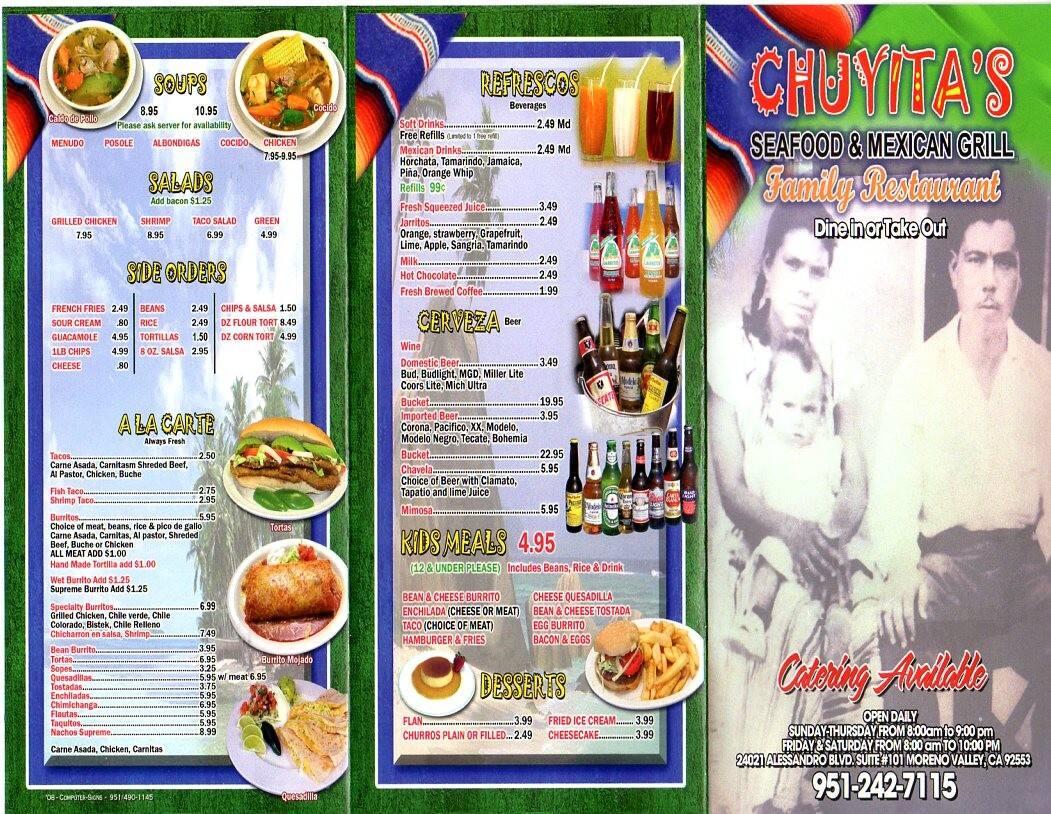 Chuyitas Menu Menu For Chuyitas Moreno Valley Inland Empire