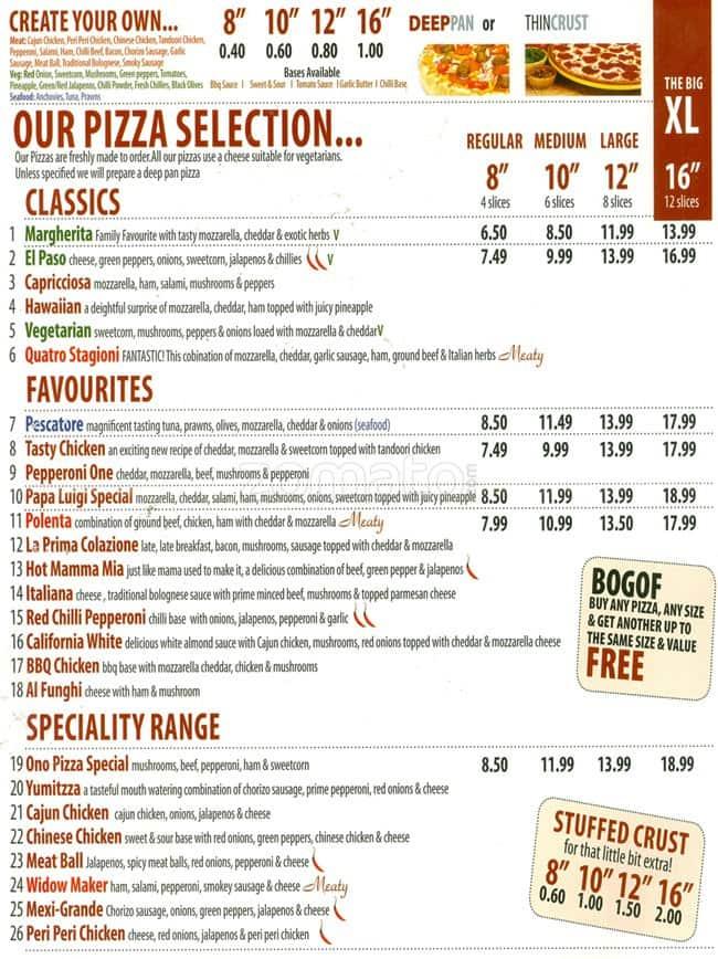 No 1 Pizza Menu Menu For No 1 Pizza Cotteridge