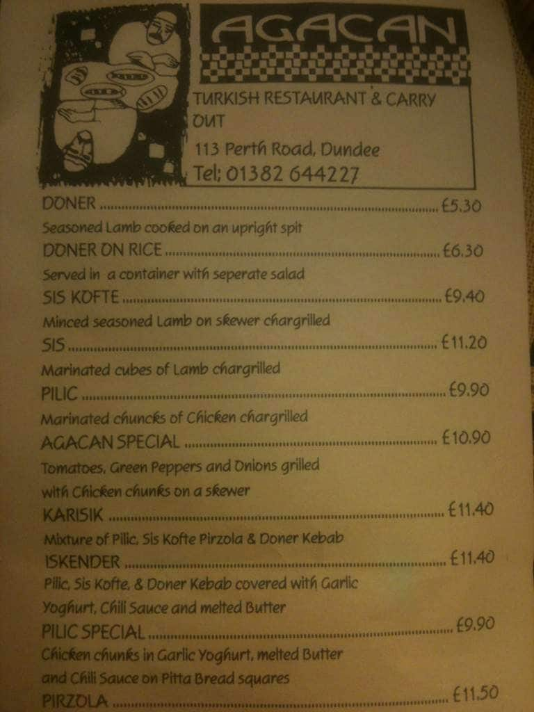 Agacan Kebab House Menu, Menu for Agacan Kebab House, Dundee ...
