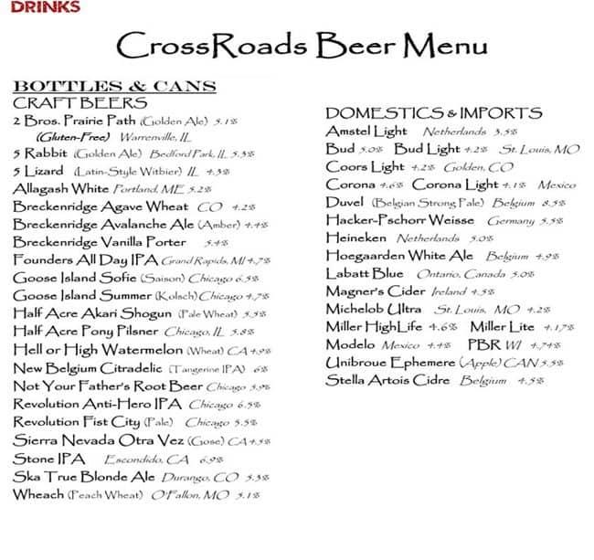 Crossroads Bar & Grill Menu