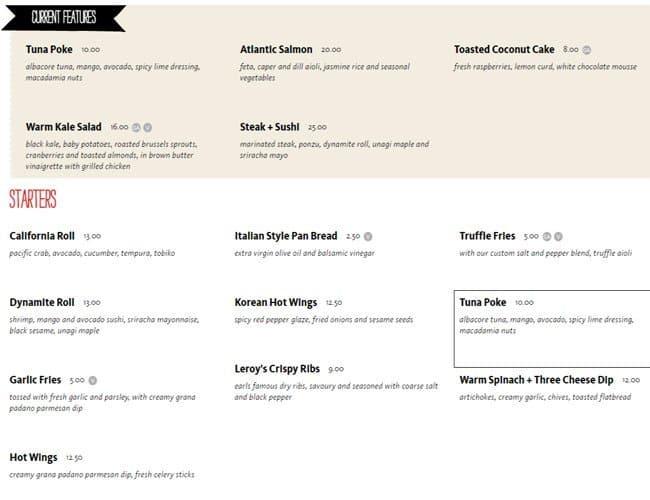 Earls Kitchen + Bar Menu, Menu for Earls Kitchen + Bar, Millenia ...