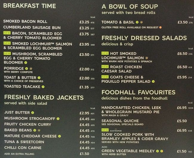 M S Cafe Breakfast Menu