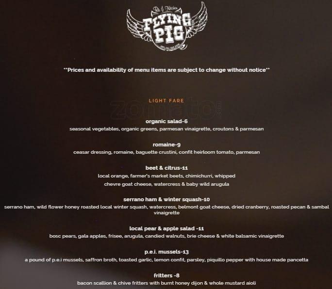 Flying Pig Pub & Kitchen Menu - Urbanspoon/Zomato