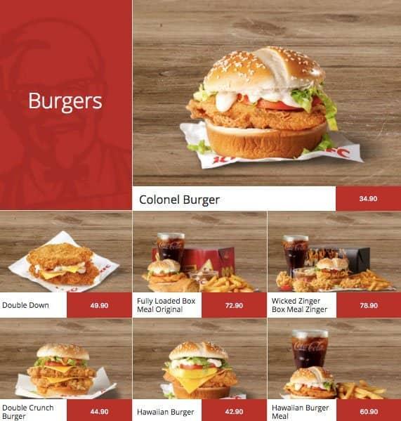 KFC Menu For Newtown Inner City