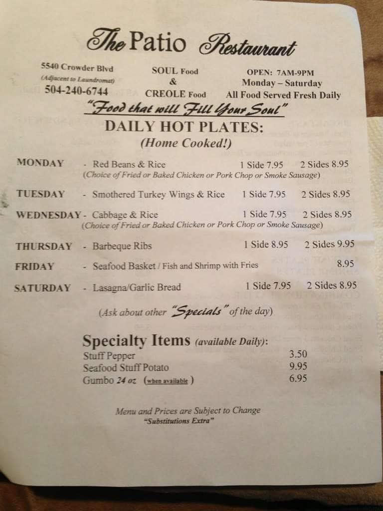 Patio Restaurant, New Orleans East Menu
