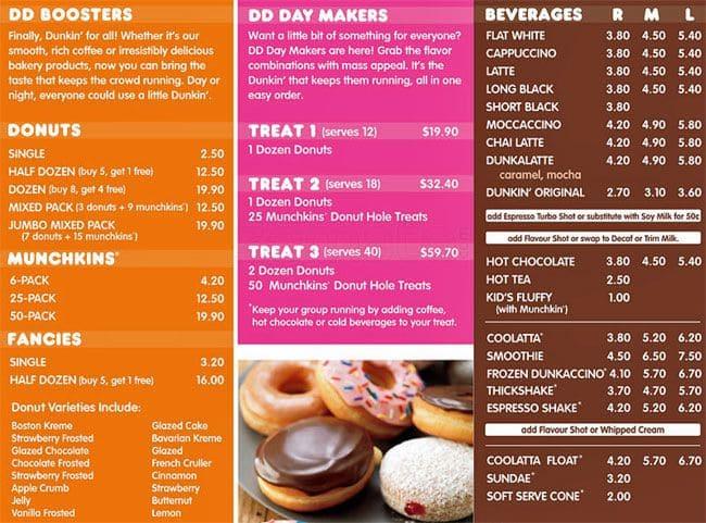 Dunkin Donuts Menu, Menu for Dunkin Donuts, Rotorua ...