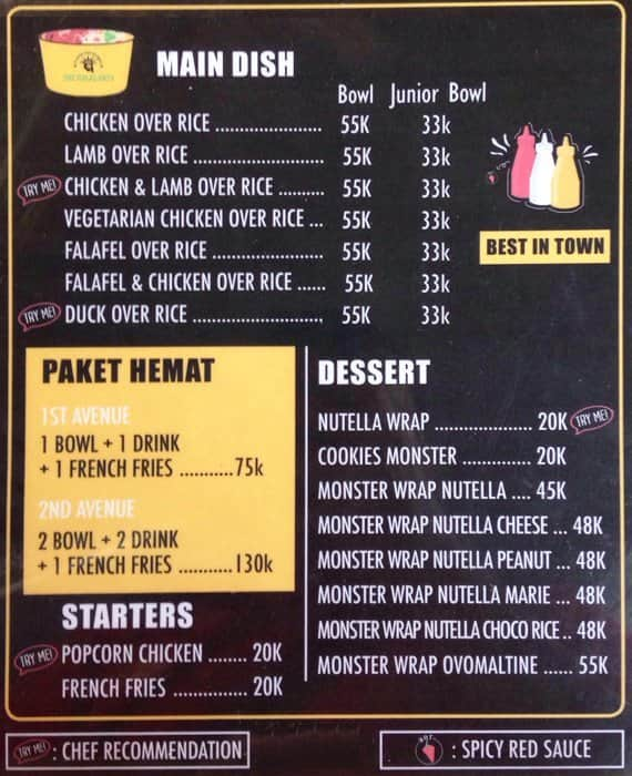 The Halal Bro's Menu, Menu for The Halal Bro's, Dharmawangsa