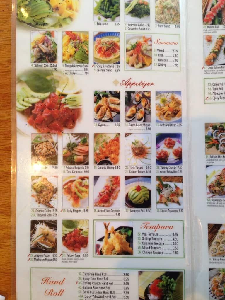 Sakae Sushi Menu