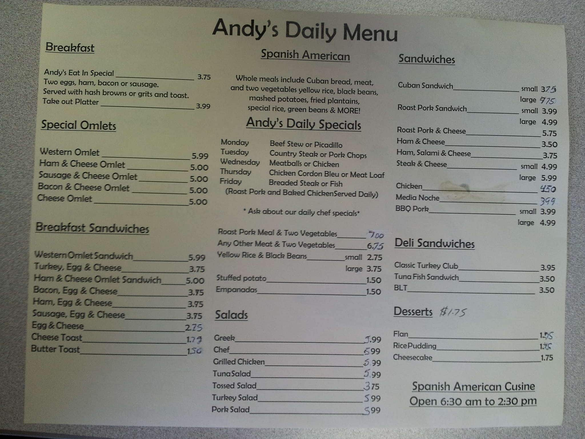 Menu at andy 39 s restaurant oldsmar for Andy s chinese cuisine