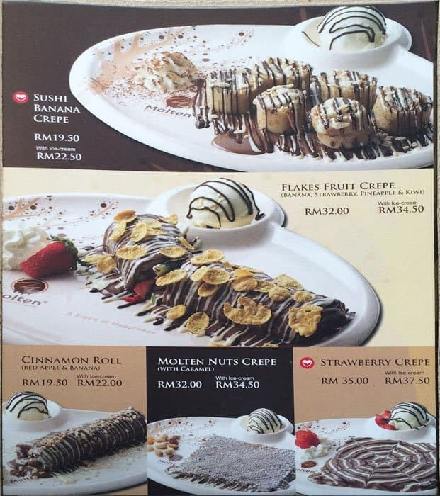 Image result for molten chocolate cafe menu