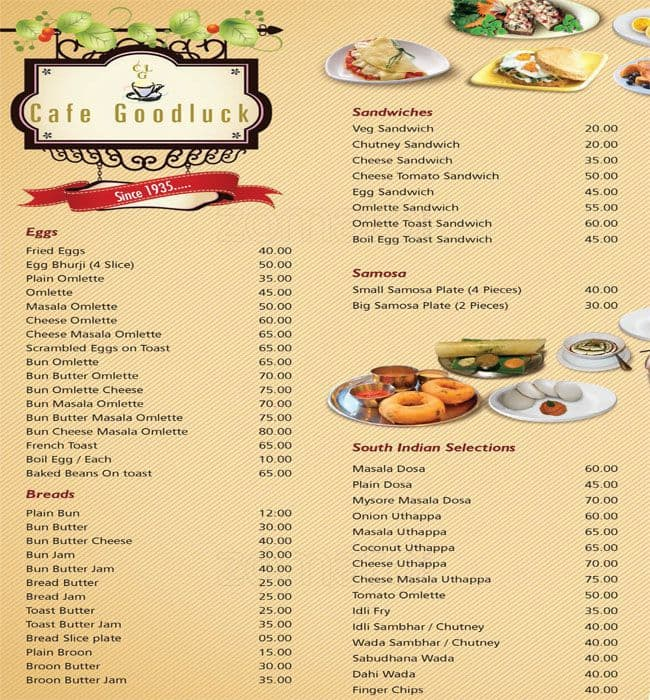 Friends Chinese Cafe Menu
