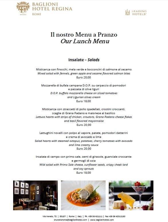 Brunello Lounge Restaurant Baglioni Hotel Regina Menu