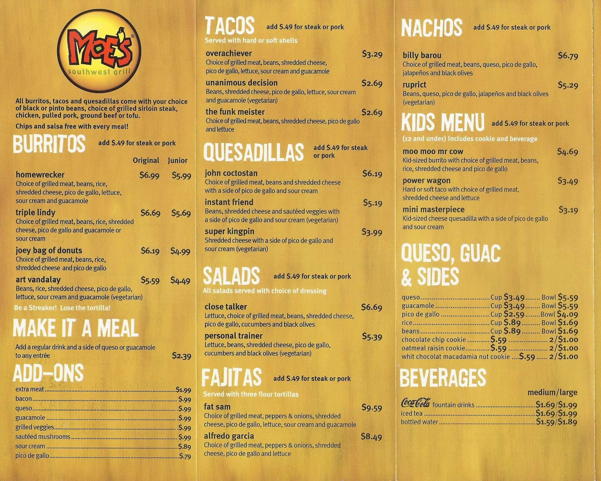 Menu at moe 39 s southwest grill restaurant sunrise w sunrise blvd - Moe southwest grill menu prices ...