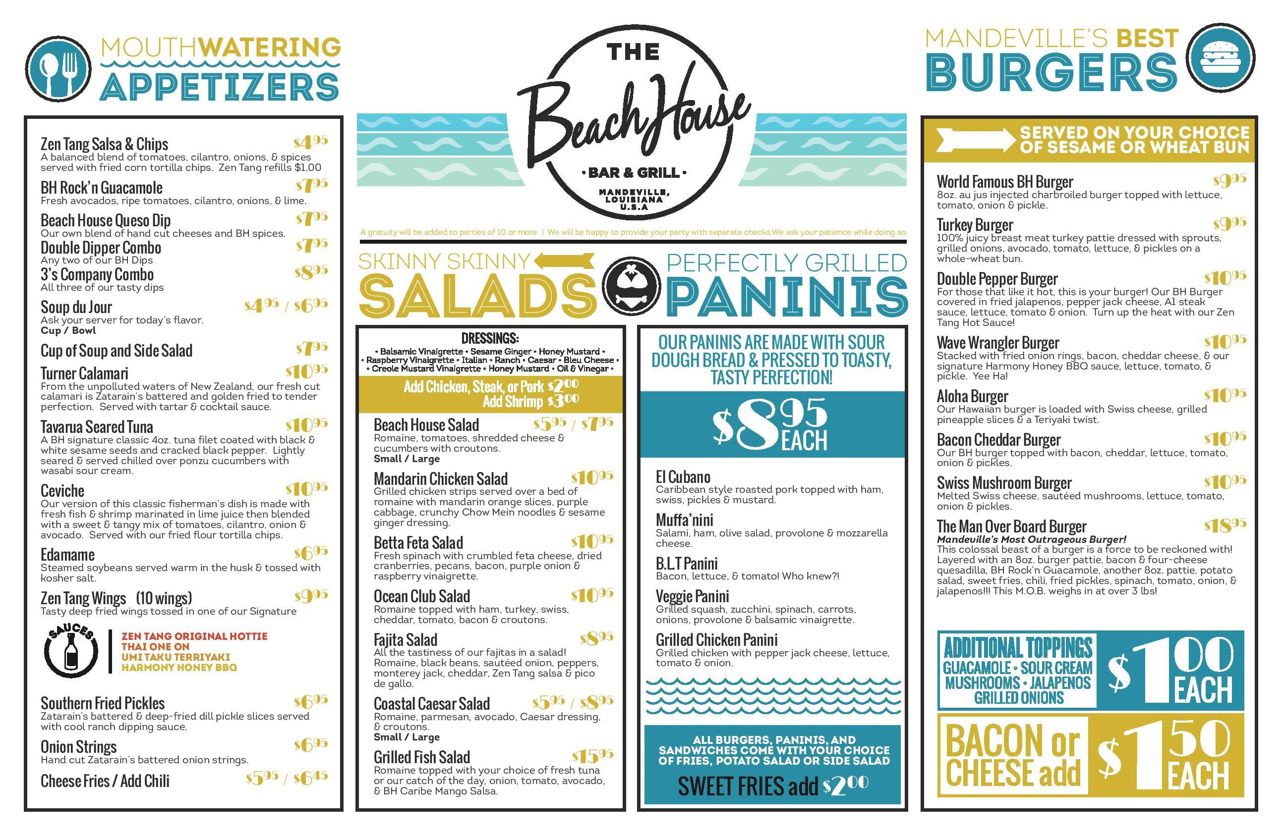 The Beach House Lunch Menu