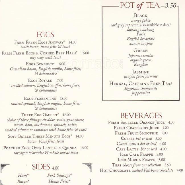 Pershing Square Cafe Menu Prices