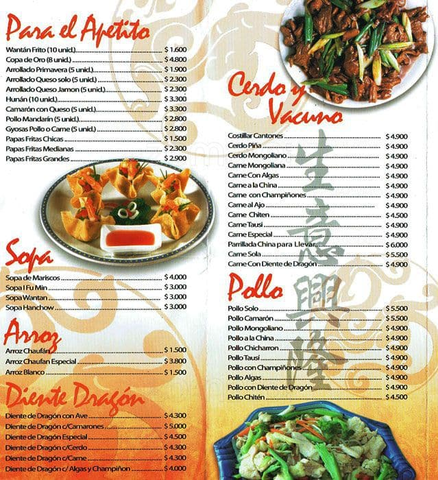 Comida China Familia Menu Men Para Comida China Familia
