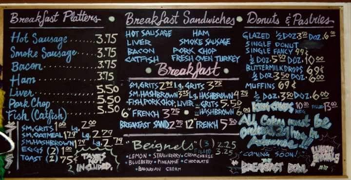 The Buttermilk Drop Bakery & Cafe, Seventh Ward Menu