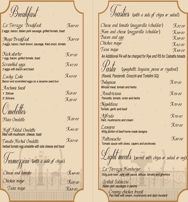 Emejing La Terrazza Menu Photos - Amazing Design Ideas 2018 ...