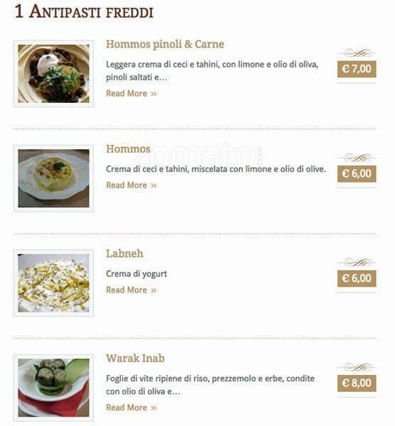 lyr - cucina libanese menu, menu for lyr - cucina libanese, brera ... - Cucina Libanese Milano