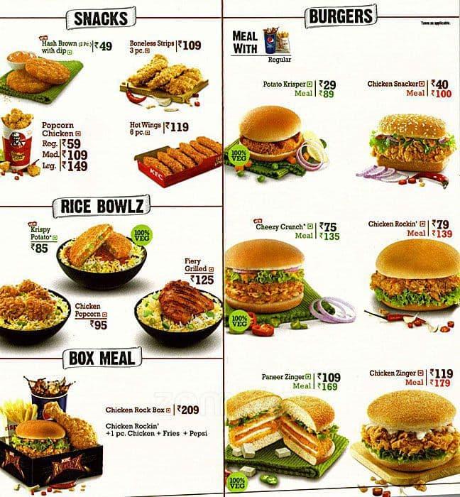KFC Menu, Menu for KFC, Tajganj, Agra - Zomato