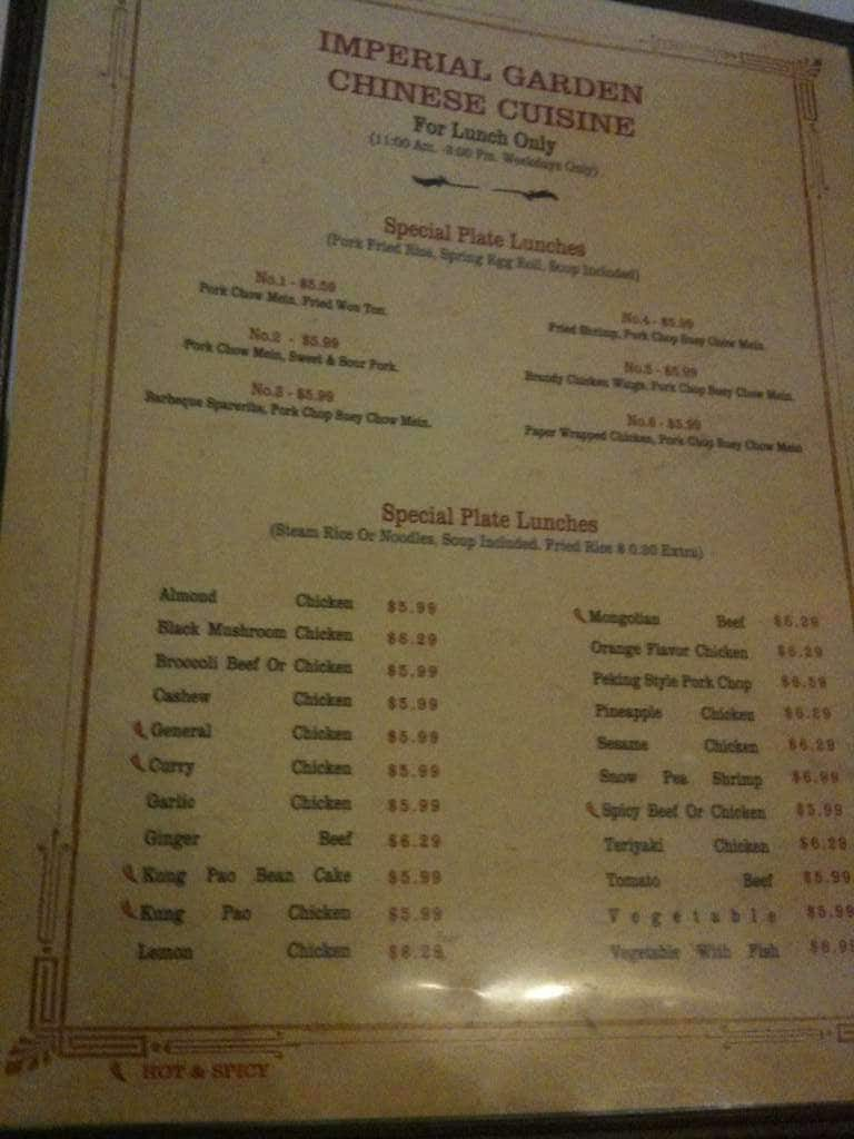 Menu at Imperial Garden restaurant, Fresno