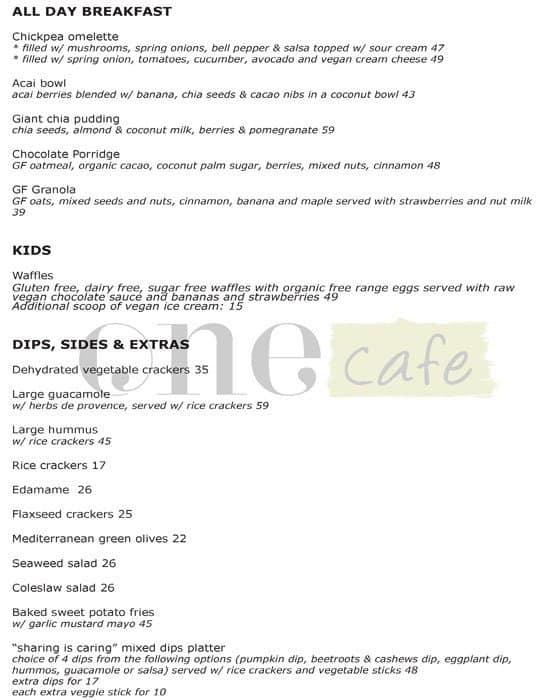 Life N One Cafe Dubai Menu