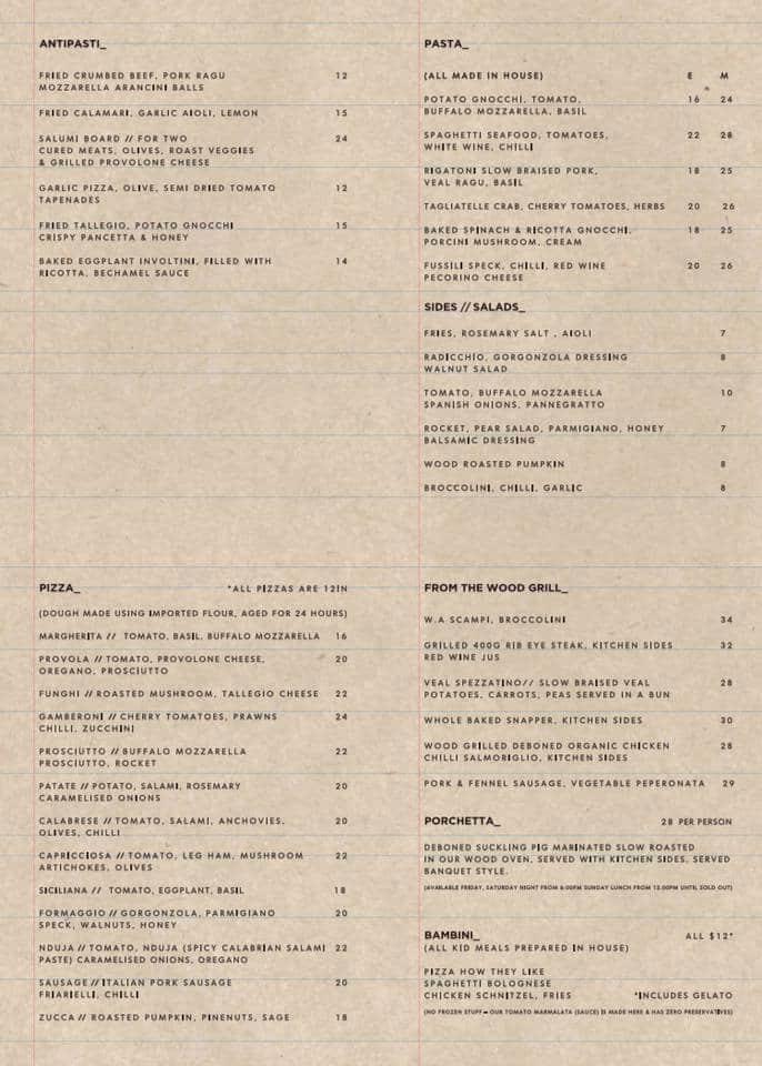 menu at italian food project restaurant camden