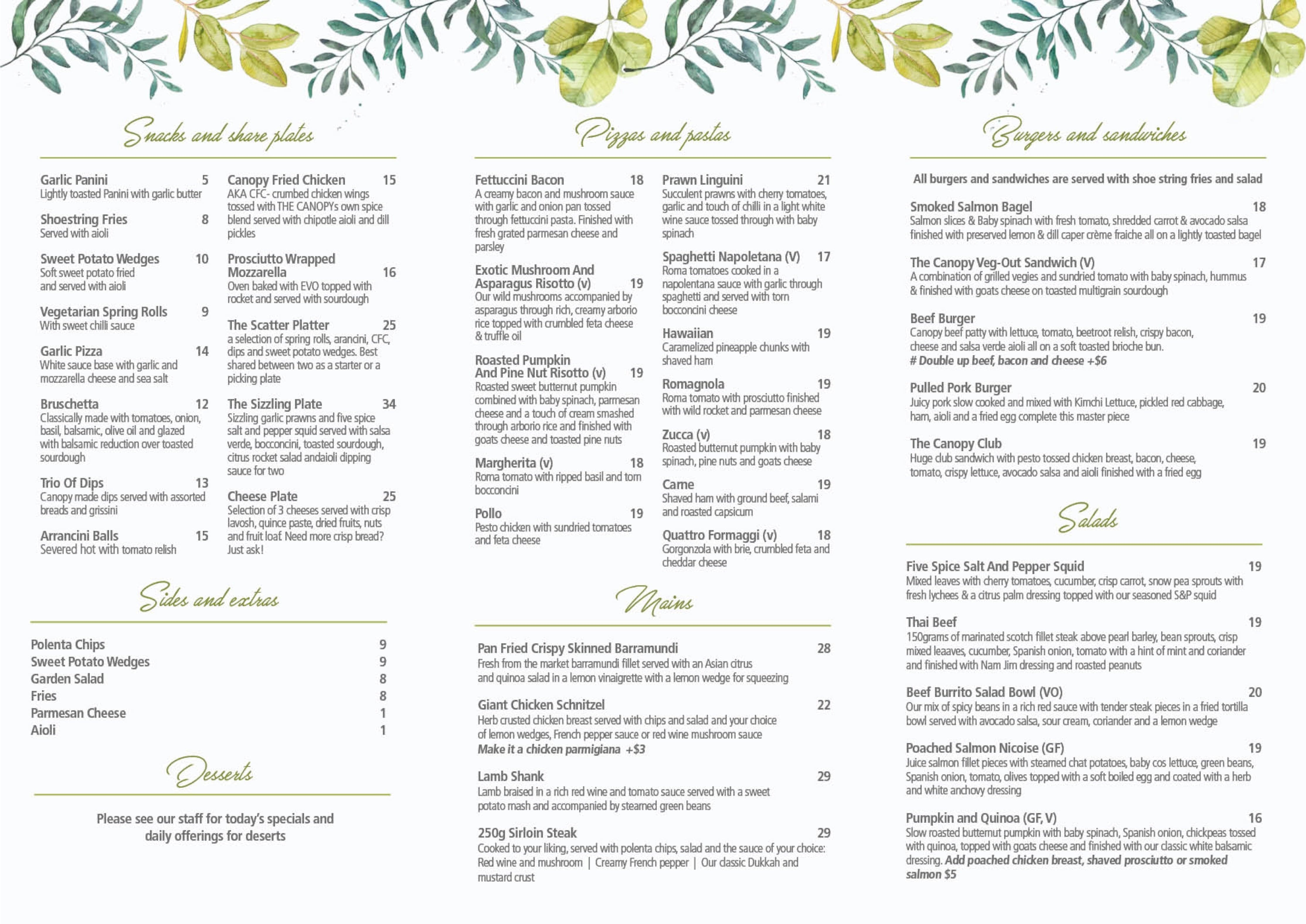 The restaurant information including the The Canopy menu items and prices may have been modified since the last website update.  sc 1 st  Restaurant Guru & Menu at The Canopy restaurant Sydney