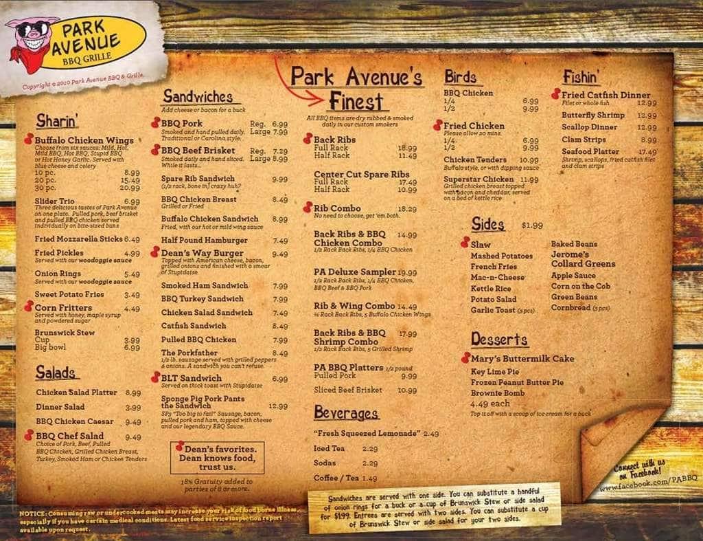 Park Avenue Bbq Grille Palm Beach Lakes Menu