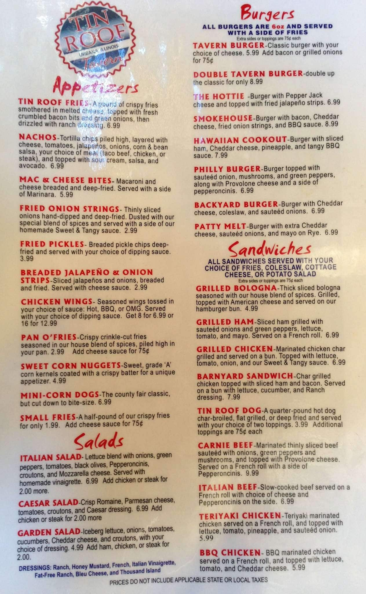 tin roof tavern menu menu for tin roof tavern urbana champaign
