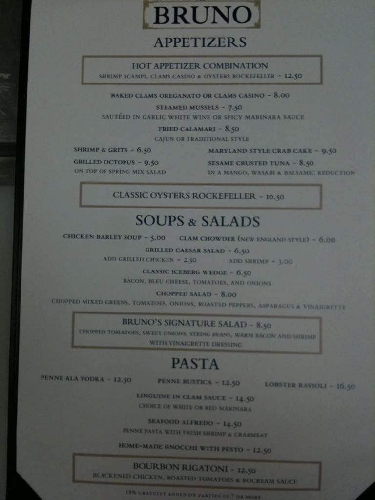 Bruno Restaurant Menu Menu For Bruno Restaurant Wake