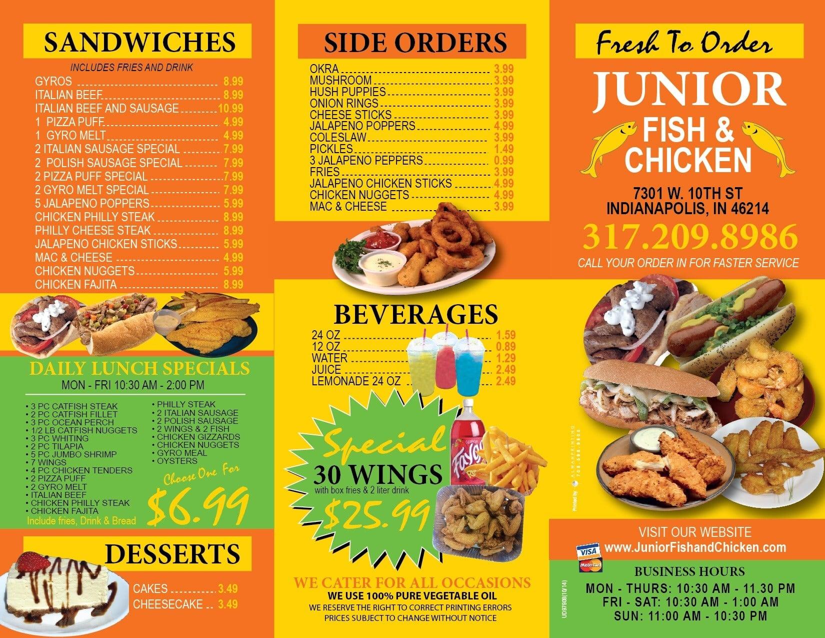 Junior fish chicken menu urbanspoon zomato for Fish and chicken menu