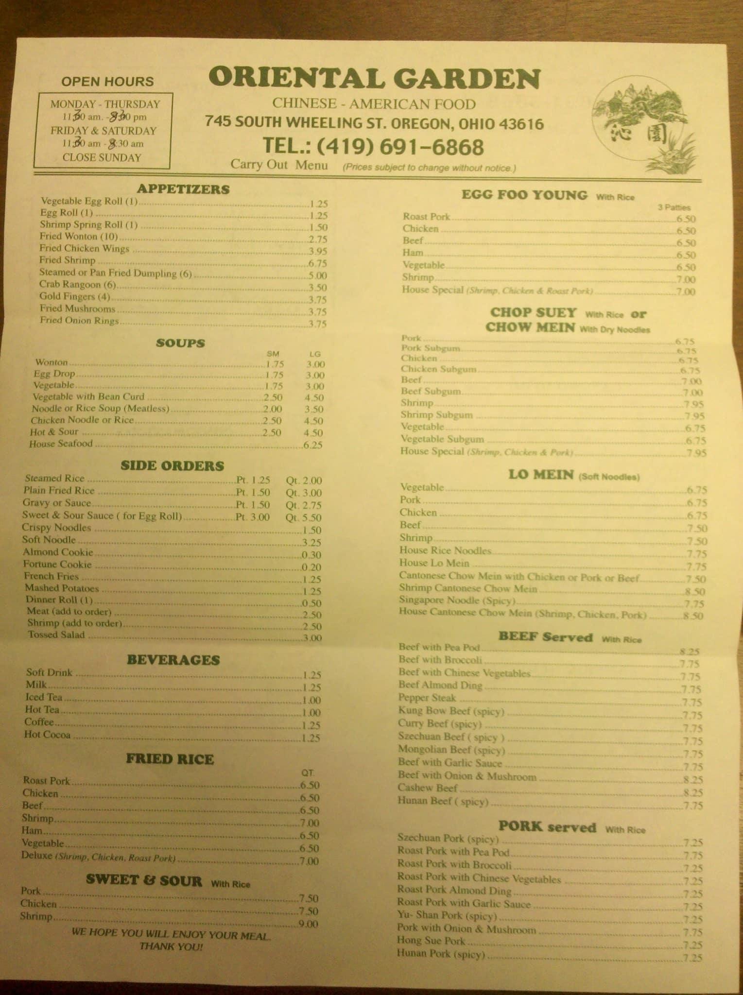 oriental garden chinese restaurant oregon menu - Oriental Garden Menu