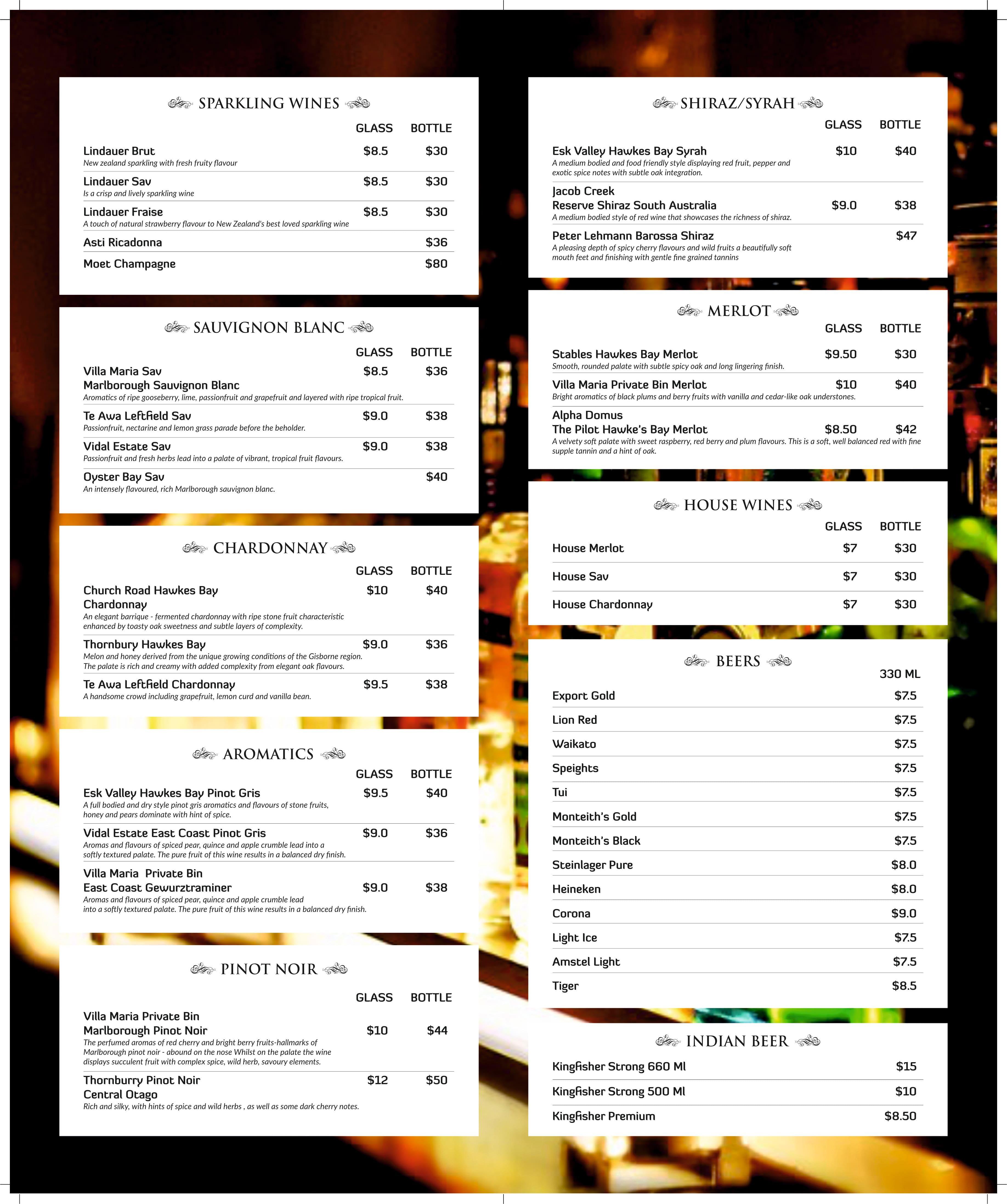 Indian Restaurant Rotorua Menu