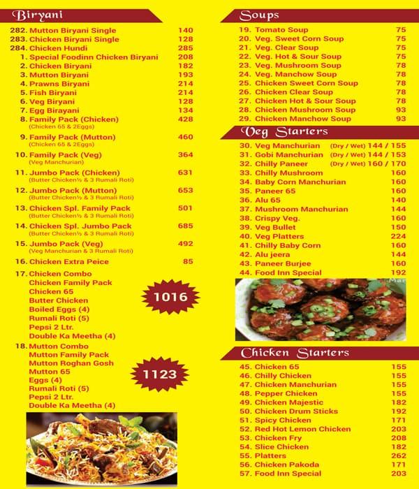 Food Inn Menu, Menu for Food Inn, Kondapur, Hyderabad - Zomato