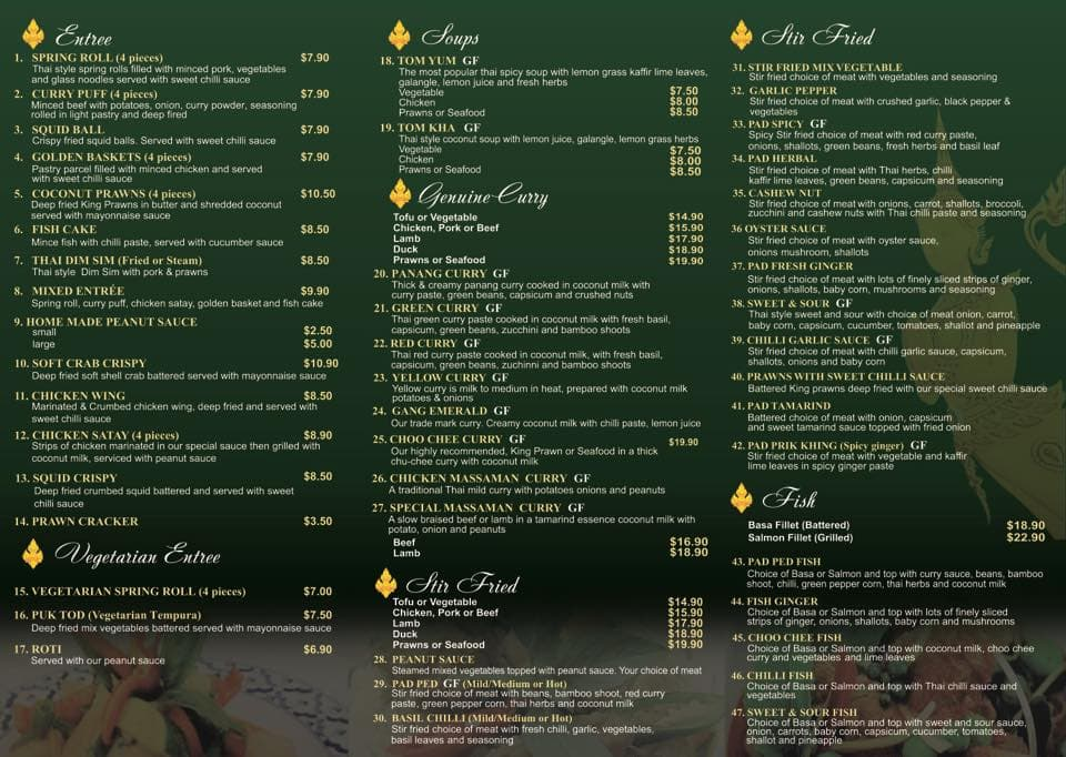 Thai Emerald Menu, Menu for Thai Emerald, Alexandra Hills, Brisbane