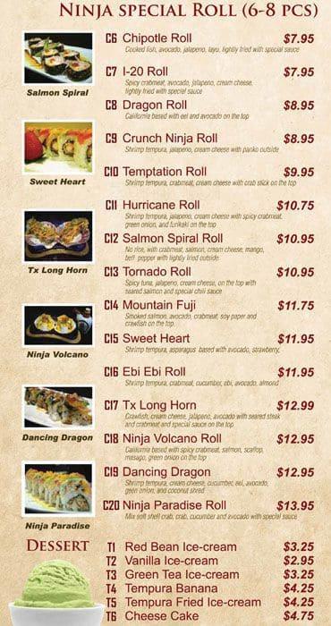 Ninja Sushi And Grill South Arlington Menu