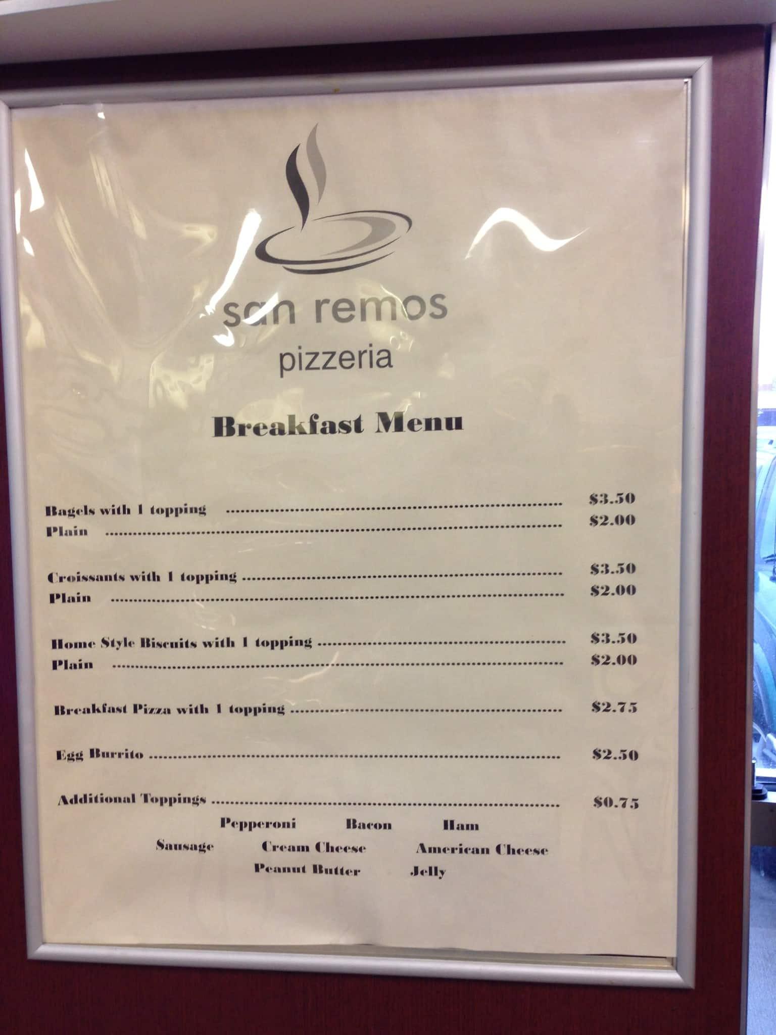San Remo\'s Pizzaria Menu, Menu for San Remo\'s Pizzaria, Ada, Ada ...