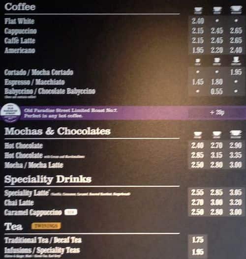 Costa Coffee Cake Prices
