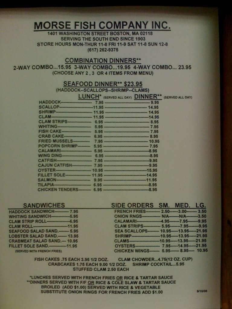 morse fish company menu menu de morse fish company south On fish company menu