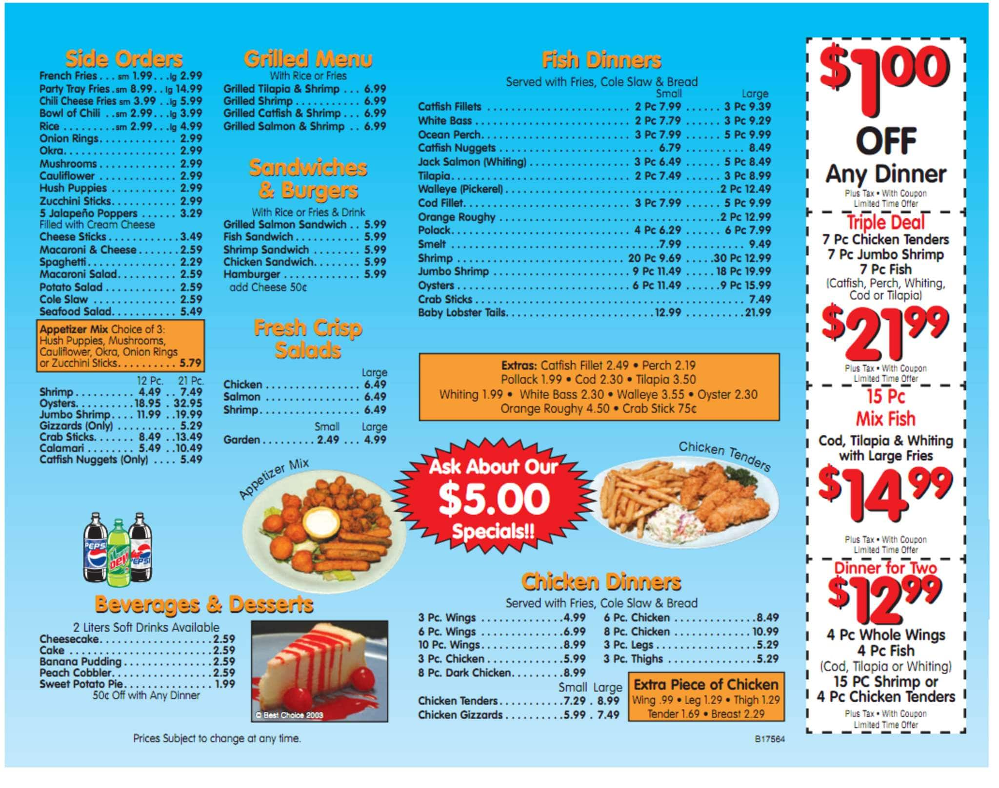 Fish express menu menu for fish express west detroit for Fish express menu