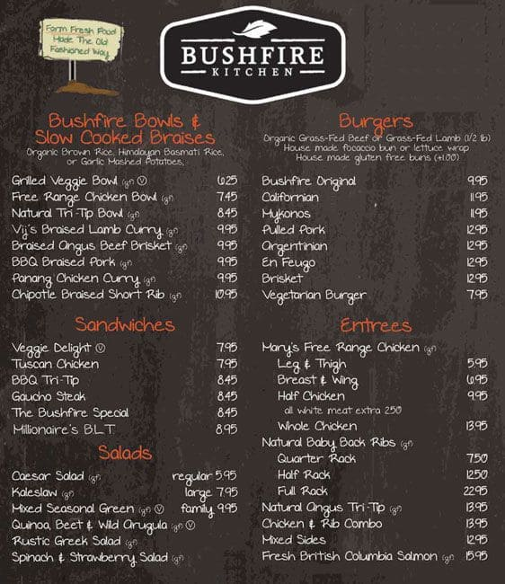 Bushfire Kitchen Menu