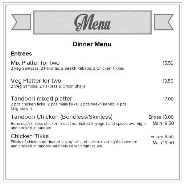 Thai Restaurant Dunedin Menu