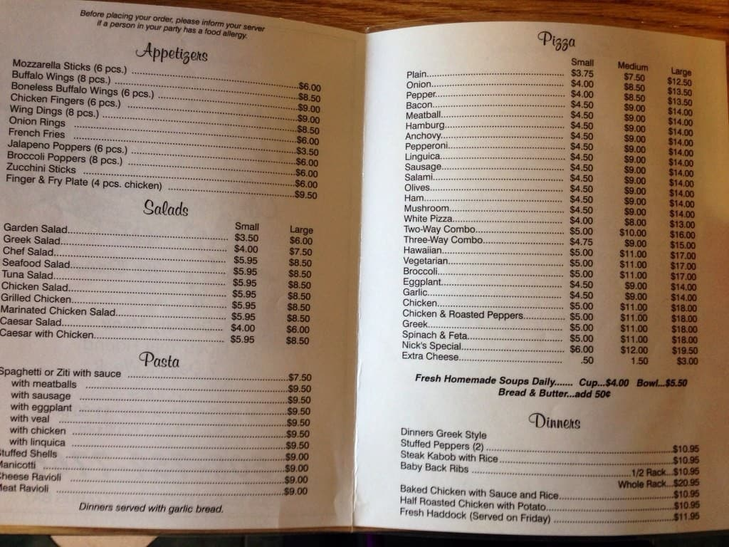 Nick 39 s pizza house menu menu for nick 39 s pizza house for Nick s fish house menu