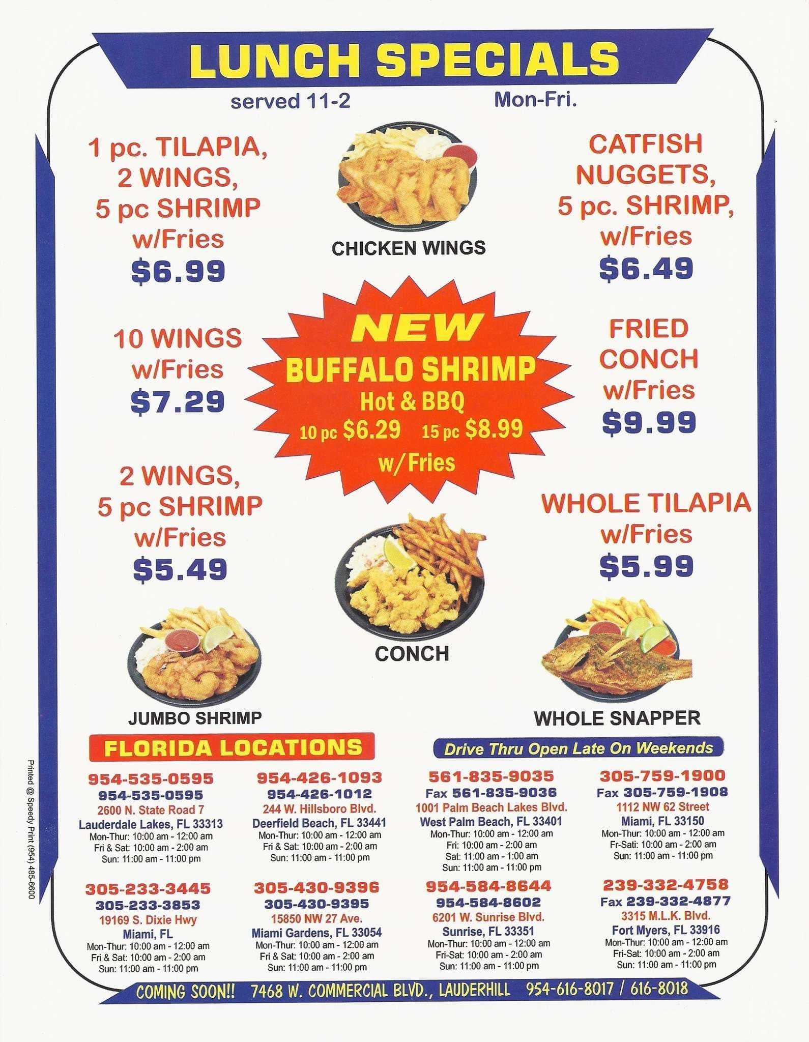 Menu at hook fish n chicken restaurant miami gardens for Captain hooks fish and chicken